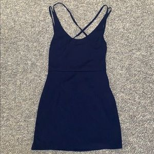 Navy dress with straps open back